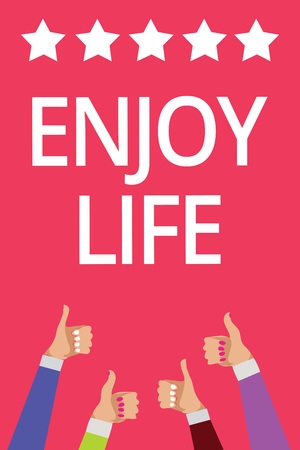 Word writing text Enjoy Life. Business concept for Any thing, place,food or person, that makes you relax and happy Men women hands thumbs up approval five stars information pink background Stock Photo