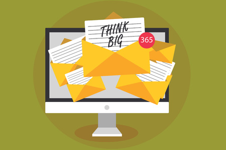 Conceptual hand writing showing Think Big. Business photo text To plan for something high value for ones self or for preparation Computer receiving emails messages envelopes with papers virtual Stock Photo