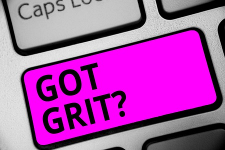 Writing note showing Got Grit question. Business photo showcasing A hardwork with perseverance towards the desired goal Keyboard purple key Intention computer computing reflection document Stock Photo