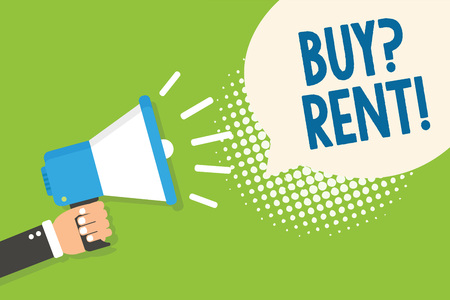 Text sign showing Buy question Rent. Conceptual photo Group that gives information about renting houses Man holding megaphone loudspeaker speech bubble green background halftone Banco de Imagens