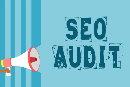 Text sign showing Seo Audit. Conceptual photo Search Engine Optimization validating and verifying process Megaphone loudspeaker blue stripes important message speaking out loud