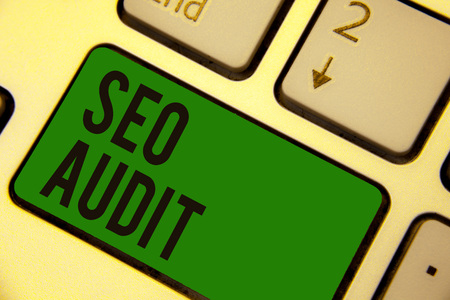 Writing note showing Seo Audit. Business photo showcasing Search Engine Optimization validating and verifying process Keyboard green key Intention computer computing reflection document