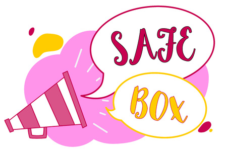 Word writing text Safe Box. Business concept for A small structure where you can keep important or valuable things Megaphone loudspeaker speech bubbles important message speaking out loud Stock Photo