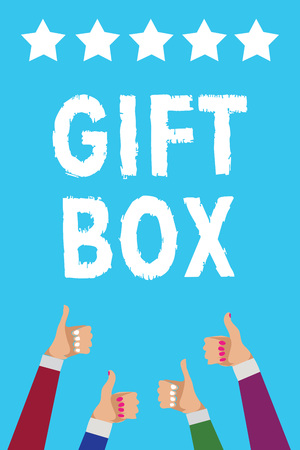 Writing note showing Gift Box. Business photo showcasing A small cointainer with designs capable of handling presents Men women hands thumbs up approval five stars info blue background