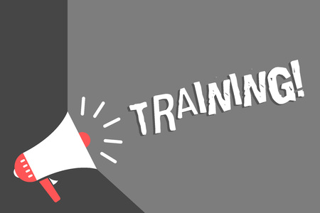 Text sign showing Training. Conceptual photo An activity occurred when starting a new job project or work Megaphone loudspeaker gray background important message speaking loud Stock Photo