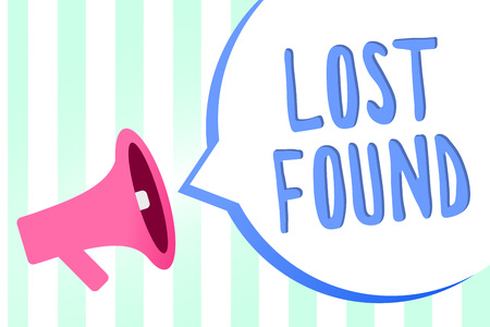 Handwriting text Lost Found. Concept meaning Things that are left behind and may retrieve to the owner Megaphone loudspeaker stripes background important message speech bubble Фото со стока