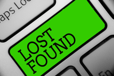 Text sign showing Lost Found. Conceptual photo Things that are left behind and may retrieve to the owner Keyboard green key Intention create computer computing reflection document Фото со стока - 106575398