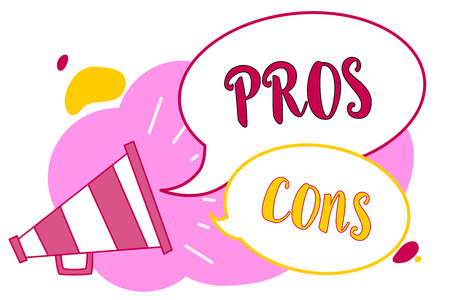 Word writing text Pros Cons. Business concept for The favorable and unfavorable factors or reasons of person Megaphone loudspeaker speech bubbles important message speaking out loud Archivio Fotografico
