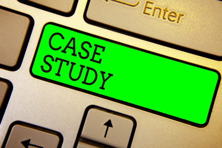 Writing note showing Case Study. Business photo showcasing A subject matter to be discussed and related to the topic Keyboard green key Intention computer computing reflection document
