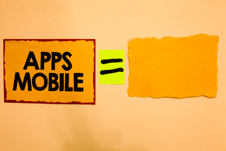 Writing note showing Apps Mobile. Business photo showcasing computer program designed to run on phone hand held device Orange paper notes reminders equal sign important messages to remember