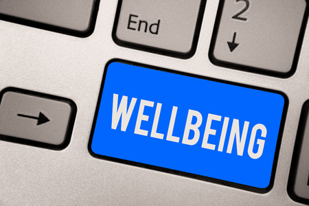 Text sign showing Wellbeing. Conceptual photo A good or satisfactory condition of existence including health Keyboard blue key Intention create computer computing reflection document Reklamní fotografie