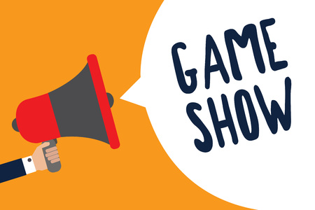 Writing note showing Game Show. Business photo showcasing Program in television or radio with players that win prizes Man holding megaphone loudspeaker speech bubble message speaking loud Stock Photo