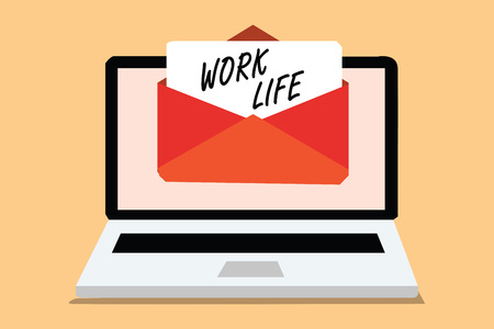 Handwriting text Work Life. Concept meaning An everyday task to ern money to sustain needs of ones self Computer receiving email important message envelope with paper virtual