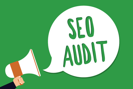 Conceptual hand writing showing Seo Audit. Business photo showcasing Search Engine Optimization validating and verifying process Man holding megaphone loudspeaker screaming green background