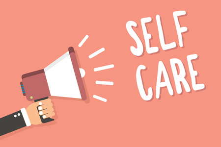 Text sign showing Self Care. Conceptual photo Give comfort to your own body without professional consultant Man holding megaphone loudspeaker pink background message speaking loud