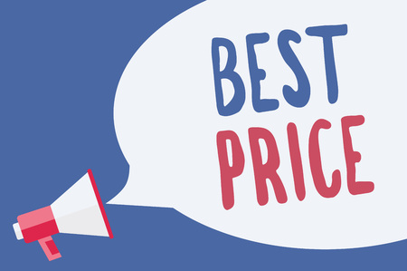 Word writing text Best Price. Business concept for Buyer or seller can obtain something for a product sold or buy Megaphone loudspeaker speech bubble important message speaking out loud Stok Fotoğraf