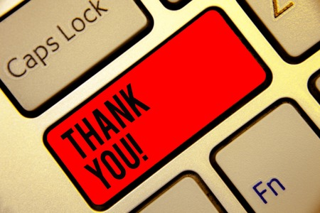 Conceptual hand writing showing Thank You. Business photo text replaying on something good or greetings with pleased way Keyboard red key create computer computing reflection document Stock Photo - 106580376