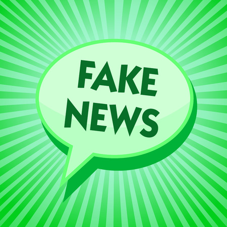 Text sign showing Fake News. Conceptual photo Giving information to people that is not true by the media Green speech bubble message reminder rays shadow important intention saying 写真素材