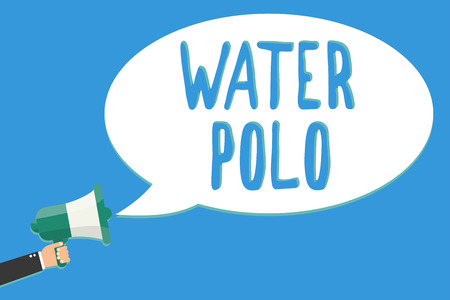 Text sign showing Water Polo. Conceptual photo competitive team sport played in the water between two teams Man holding megaphone loudspeaker speech bubble message speaking loud Stock Photo