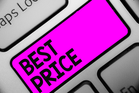 Word writing text Best Price. Business concept for Buyer or seller can obtain something for a product sold or buy Keyboard purple key Intention create computer computing reflection document Stok Fotoğraf
