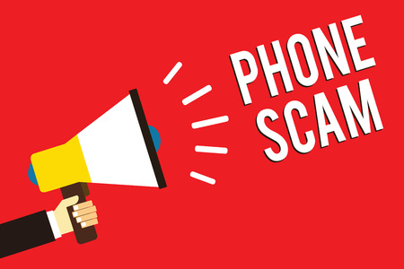 Word writing text Phone Scam. Business concept for getting unwanted calls to promote products or service Telesales Man holding megaphone loudspeaker red background message speaking loud