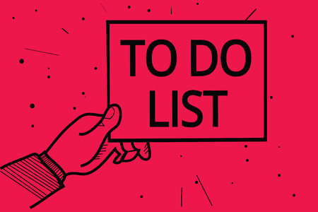 Conceptual hand writing showing To Do List. Business photo text A structure that usualy made in paper contining task of yours Man holding paper communicating information dotted red background