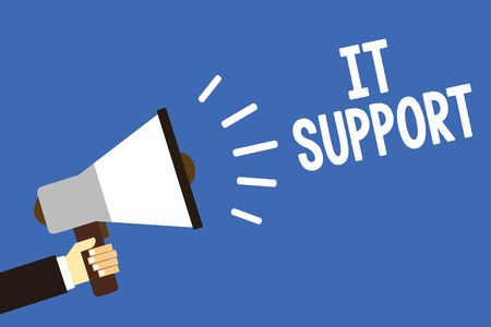 Handwriting text writing It Support. Concept meaning Lending help about information technologies and relative issues Man holding megaphone loudspeaker blue background message speaking loud