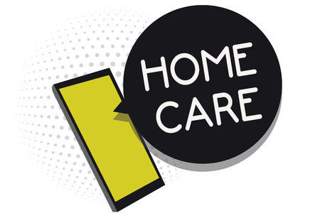 Writing note showing Home Care. Business photo showcasing Place where people can get the best service of comfort rendered Cell phone receiving text messages chat information using applications