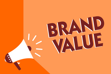 Conceptual hand writing showing Brand Value. Business photo text company generates from product with recognizable for its names Megaphone loudspeaker orange background important message speaking
