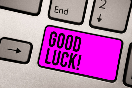 Text sign showing Good Luck. Conceptual photo A positive fortune or a happy outcome that a person can have Keyboard purple key Intention create computer computing reflection document Stock Photo