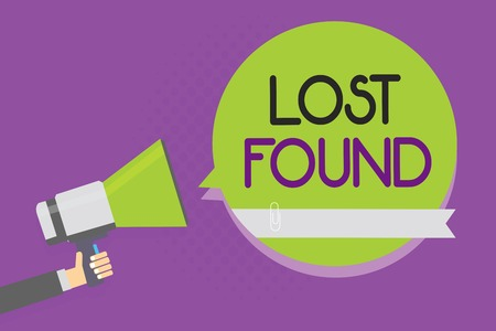 Text sign showing Lost Found. Conceptual photo Things that are left behind and may retrieve to the owner Man holding megaphone loudspeaker green speech bubble purple background Фото со стока