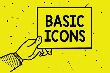 Word writing text Basic Icons. Business concept for pictogram or ideogram displayed on a computer screen or phone Man hand holding paper communicating information dotted yellow background