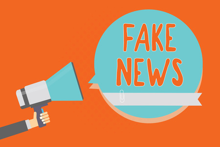 Conceptual hand writing showing Fake News. Business photo showcasing Giving information to people that is not true by the media Man holding megaphone blue speech bubble orange background