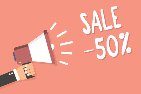 Text sign showing Sale 50. Conceptual photo A promo price of an item at 50 percent markdown Man holding megaphone loudspeaker pink background message speaking loud