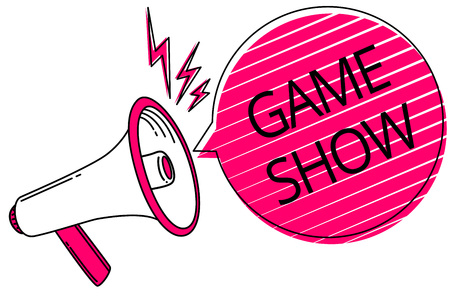 Text sign showing Game Show. Conceptual photo Program in television or radio with players that win prizes Megaphone loudspeaker pink speech bubble stripes important loud message