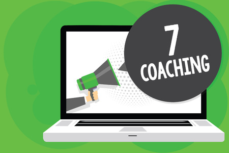 Conceptual hand writing showing 7 Coaching. Business photo text Refers to a number of figures regarding business to be succesful Man holding Megaphone loudspeaker computer screen speech bubble Foto de archivo