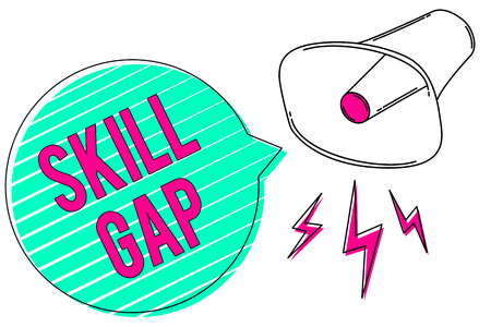 Conceptual hand writing showing Skill Gap. Business photo showcasing Refering to a persons weakness or limitation of knowlege Megaphone green speech bubble stripes important loud message