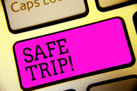 Text sign showing Safe Trip. Conceptual photo wishing someone to reach his destination in good health Keyboard purple key Intention create computer computing reflection document