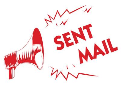 Tekst pisma ręcznego Wysłana poczta. Pojęcie znaczenie Wydarzenie, w którym list ma być gdzieś zabrany lub trafia do odbiorcy Czerwony głośnik megafonu ważne komunikaty krzyki mówiące głośno Zdjęcie Seryjne