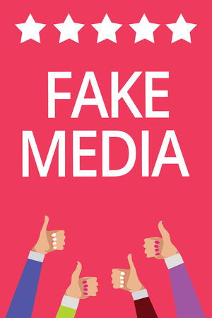 Word writing text Fake Media. Business concept for An formation held by brodcasters which we cannot rely on Men women hands thumbs up approval five stars information pink background