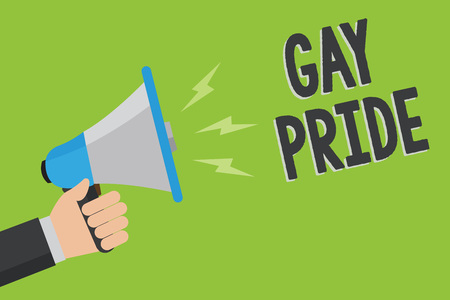 Writing note showing Gay Pride. Business photo showcasing Dignity of an idividual that belongs to either a man or woman Man holding megaphone loudspeaker green background message speaking