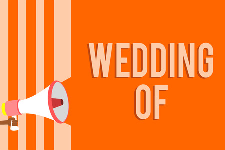 Writing note showing Wedding Of. Business photo showcasing announcing that man and woman now as married couple forever Megaphone loudspeaker orange stripes important message speaking loud