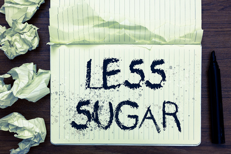 Word writing text Less Sugar. Business concept for Lower volume of sweetness in any food or drink that we eat Open notebook page crumpled papers ripped pages several tries mistakes