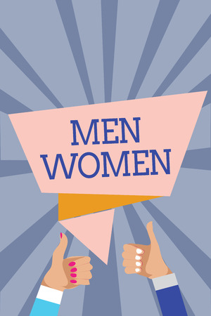 Conceptual hand writing showing Men Women. Business photo text The state where in a boy or a girl turns to be a mature adult Man woman hands thumbs up approval speech bubble rays background