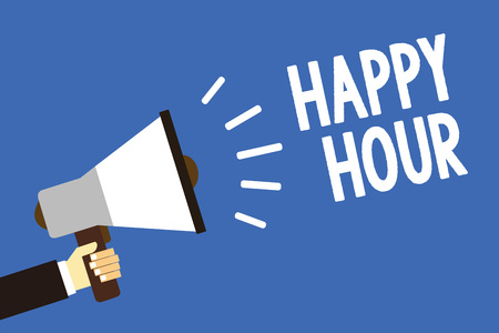 Handwriting text writing Happy Hour. Concept meaning Spending time for activities that makes you relax for a while Man holding megaphone loudspeaker blue background message speaking loud Banque d'images