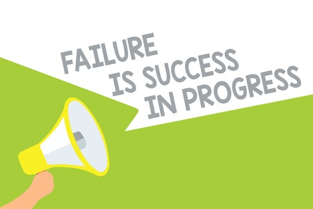 Text sign showing Failure Is Success In Progress. Conceptual photo You have to make mistakes for improvement Megaphone loudspeaker speech bubbles important message speaking out loud