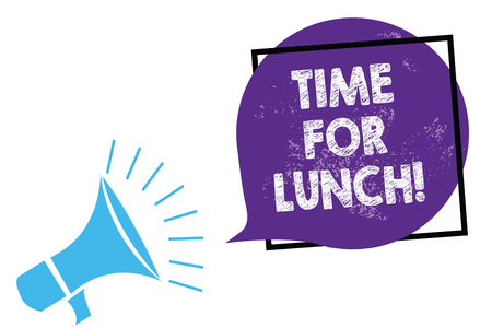 Conceptual hand writing showing Time For Lunch. Business photo text Moment to have a meal Break from work Relax eat drink rest Megaphone loudspeaker speaking loud screaming purple speech bubble Stock Photo