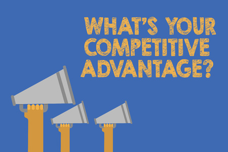 Writing note showing What s is Your Competitive Advantage question. Business photo showcasing Marketing strategy Plan Hands holding megaphones loudspeaker important message blue background