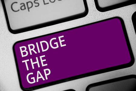 Word writing text Bridge The Gap. Business concept for Overcome the obstacles Challenge Courage Empowerment Keyboard purple key Intention create computer computing reflection document Фото со стока