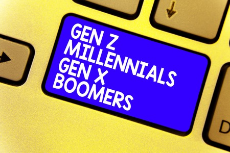 Word writing text Gen Z Millennials Gen X Boomers. Business concept for Generational differences Old Young people Keyboard blue key Intention create computer computing reflection document Banque d'images